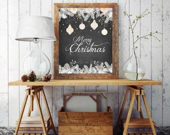 Christmas Printables, Merry Christmas Prints, Chalk Printable, Rustic Christmas Decor, Wall Art, Holiday Wall Decor, Decorations , Digital