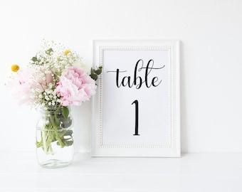 Printable Table Numbers // Table Number, Wedding Table Numbers, Black and White Table Numbers, Wedding, Wedding Stationary, Table Decor
