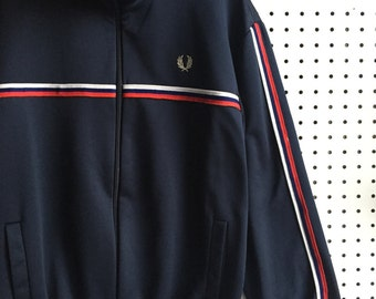 Vintage Fred Perry Blue White Red Stripes Track Jacket
