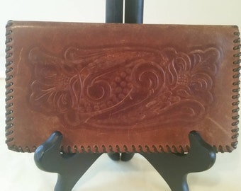 Hand tooled leather checkbook/leather wallet/vintage leather