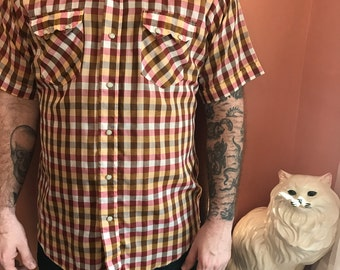 70s/80s Western Shirt, Gingham, Cowboy, Snap Button Down by Dee Cee Brand (B443)