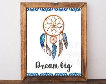 Dream Big Printables, Dreamcatcher Art, Dream Catcher Print, Tribal Print, Feathers, Tribal Wall Art, Boho Wall Decor, Tribal Art, Print