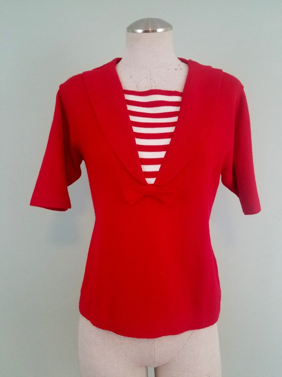 1950s Nautical Red Pin Up Sweater / Rockabilly Sailor Stripes / Pandora / Modern Size Medium to Large