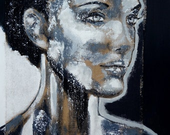 """Portrait XL  39"""" x 27"""" in Portrait face art black white original acrylic painting Contemporary Fine Art  artLigne"""