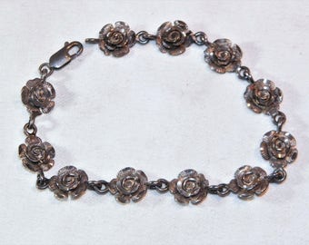 Awesome Sterling Silver, Unique, Hand Made, Flower Bracelet, 7.5 Inches