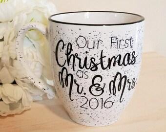 First Christmas as Mr. & Mrs. Coffee Mug, Newly Weds Coffee Mug, Newly Wed Christmas Gift, Holiday Mug, Couples Mug, Gift Mug, Holiday Gift
