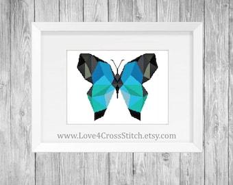 Geometric Cross Stitch Pattern Modern, Blue Butterfly Cross Stitch, Geometric Animal Cross Stitch, Easy Cross Stitch, Modern Cross Stitch