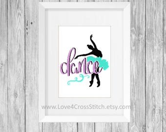 Ballet Cross Stitch Pattern Modern, Dance Cross Stitch, Dancer Cross Stitch,  Ballerina Cross Stitch, Dance Quote Cross Stitch, Modern Cross