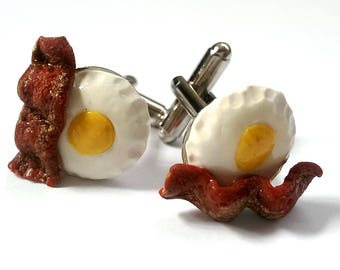 Bacon and Eggs Cufflinks, Funny Cuff links, Food Cufflinks, Food Jewelry, Gift for Men / Women