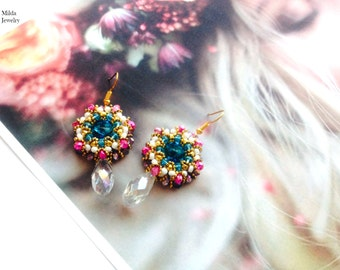 Colorful earrings, handmade glass seed beaded earrings, beadeaving earrings, beadwork jewelry, bead embroidery