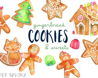 Christmas Cookies Clipart | Gingerbread Man Clip Art - Holiday Gingerbread House - With Gumdrops and Lollipop - Digital Instant Download PNG