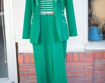 1970s Jumpsuit in Green with Matching Jacket and Belt, Wide-Legged Pants and Striped Top