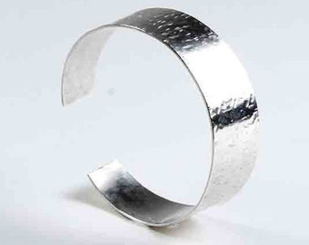 Bracelet,  Sterling Silver Textured, Tapered, Bespoke Cuff Bracelet, Hallmarked by the Goldsmith Company London Assay office.