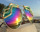 RAiNBOW Reflective <> AViATOR SPuNGLaSSeS <>  Gold Green Wire Wrapped <> Unisex men's womens <> Sunglasses Unisex Eyewear <> FREE Shipping