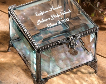 Graduation Gift Personalized Keepsake Box Glass Jewelry Box Engraved Gift -High School Graduate - College Grad - Vintage  Box 326 EB217-3