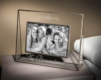Family Photo Frame Personalized Family Picture Frame Stained Glass Picture Frame Engraved Gift for Mom 5x7 Horizontal Pic 319-57H EP501