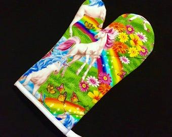 Unicorn and Rainbow Oven Mitt