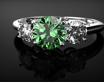 Emerald Engagement Ring White Gold Emerald Ring White Gold Ring Emerald Ring Unique Engagement Ring Emerald in White Gold