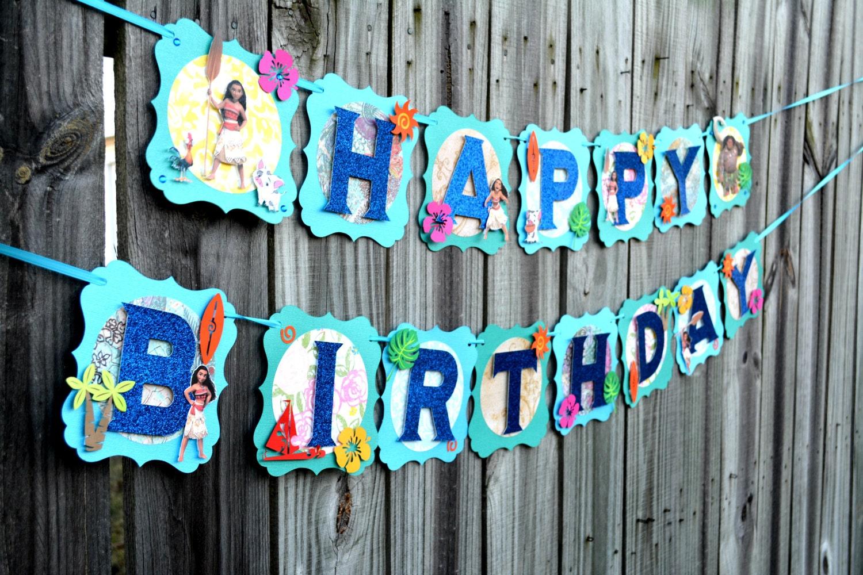 Moana birthday banner | Etsy