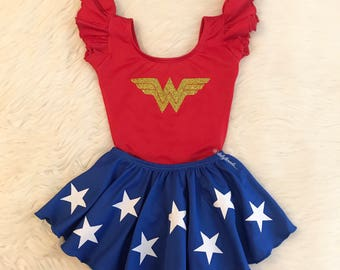 SKIRT only - WONDER WOMAN inspired Royal Blue Ruffle Skirt w/ White glitter Stars (leotard sold separately) - Marvel / Hero costume