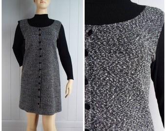 Vintage Womens 1990s Mod Black and Gray Mock Neck Knit Jumper Dress | Size M