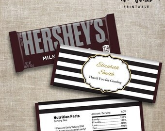 Black and Gold Candy Bar Label | Hershey Chocolate Wrappers | Editable | Printable | Instant Download