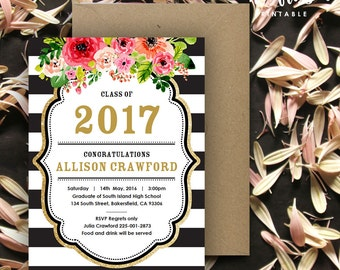 Black and White Stripe Gold Graduation Invitation | 5x7 | Editable PDF | Instant Download | DIY at home with Adobe Reader