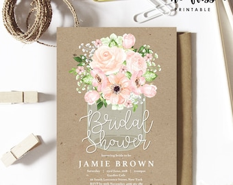 Manson Jar Bridal Shower Invitation | 5x7 | Editable PDF File | Instant Download | Personalize at home with Adobe Reader