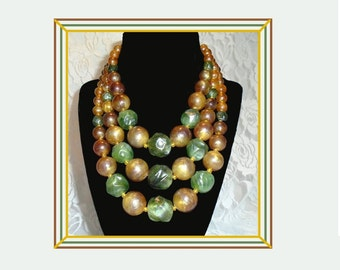 Vintage Bib Necklace, Signed WESTERN GERMANY, Amber Green Gold, Fall Colors, 3 strand Bib Necklace, 1950s Bead Necklace, Iridescent Beads.
