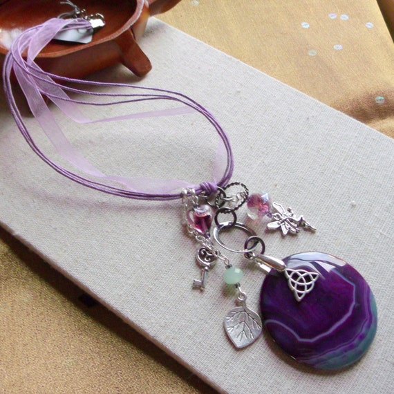Pendant purple agate necklace - lilac ribbon - stone necklace - gift for her- Celtic- key - fairy charms -  U2 memento - silver leaf - irish
