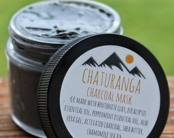 Chaturanga Charcoal Face Mask. Oily Skin Treatment. Bentonite Clay Mask. Skin Care. Natural Skincare. Yoga. Acne Face Mask.