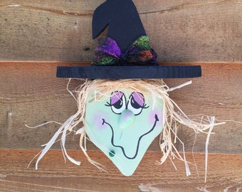 Warty Witch Handpainted Wood Wall Hanging