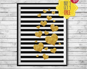 Golden heart poster, Gold foil black, Printable gold wall art, Hearts of gold, Black white stripes, Minimal golden decor, Printable hearts