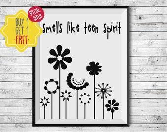 Flower girl gift, Nirvana poster, Rock art, Nursery art, Smells like, Minimal, idea,INSTANT DOWNLOAD, Teen girl gifts, Official teenager,A4