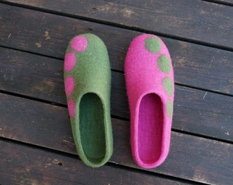 Crazy wool slippers Felt slippers Felted wool slippers Felted women slippers Soft wool Organic women slippers Felt slippers Women slippers