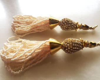 White pearl Glass Bead Traditional Tassel/ Latkan/Embellishment/Decoration /Saari/Curtain Tassels Ethnic Handcrafted Supply