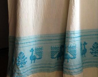 Blue beige vintage Sardinian curtain with bird pattern