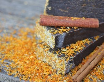Cinnamon with Calendula Marigold Natural Handmade Soap