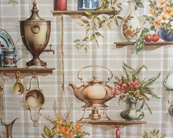 Kitsch Vintage Coloroll Wallpaper - Trompe L'Oeil Shelves, Flowers, Fruit & Kitchenalia