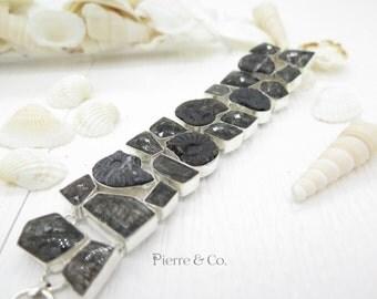 Black Ammonite Fossil Smoky Topaz Tourmalated Quartz Sterling Silver Bracelet