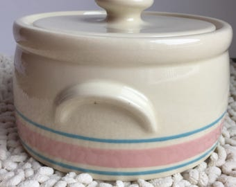 McCoy Pottery Casserole or Bean Pot With Lid Pink and Blue Stripe Pattern Mid-Century Decor Farmhouse Country Cottage Decor