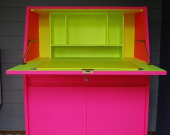 SOLD * Vintage Remploy bureau desk, painted bright neon pink and yellow, 1960s mid century desk, bespoke hand painted furniture