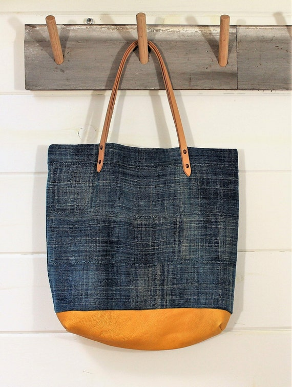 Indigo Mud Cloth/Deerskin Tote