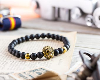 6mm - Matte black onyx beaded gold Lion head stretchy bracelet, made to order yoga bracelet, mens bracelet, womens bracelet, black stone