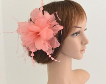 Wedding Fascinator, Bridal Hair Comb,Wedding Hair Comb,Feather Flower Comb Fascinator 30A (Coral)