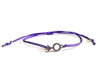Feminist bracelet-Feminine Bracelet-Female symbol -Venus symbol bracelet-Friendship bracelet- Feminist String bracelet-BFF Bracelet