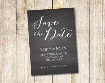 Save the Date Calendar Template/Save the Date Postcard Printable/Save the Date Announcement/Save the Date Card Printable/Chalkboard/Black