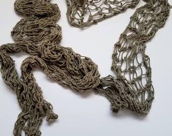 1980s Green Vintage Macrame belt  braided knotted Net Boho Hippie Cord belt