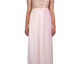 Pink Scallop Sequin Gown