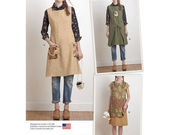 Simplicity 8230 A US Size XS - XL Sewing Pattern New & Unused Granny Chic Tunic Frock Top Boho Hippie Women Apron Dress Reversible Tabard